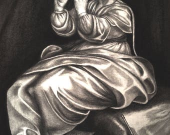 Pencil drawing, Graphite drawing, Graphite art, Graphite portrait, (Woman playing flute)