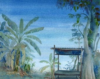 Landscepe watercolour, Original landscape painting, watercolour painting, landscape painting, Blue painting