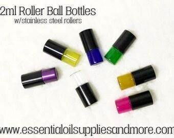 2ml Glass Mini Steel Roller Ball Bottles, Multi Colored, Essential Oils, Essential Oil Roller Bottles, Young Living, DoTERRA, Aromatherapy
