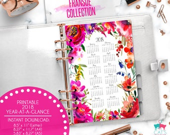 Printable Calendar A5 A4 Letter Watercolor Planners 2018 Year at a Glance | Fransue Floral Collection | FRCYG18