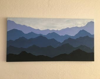 Mountain Silouette Acrylic on Canvas