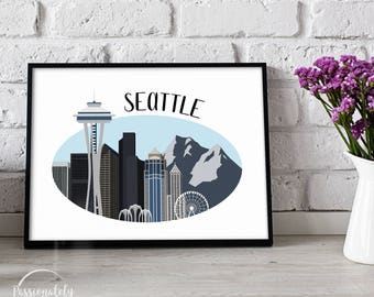 Seattle Skyline Illustration - Wall Art - Digital Download