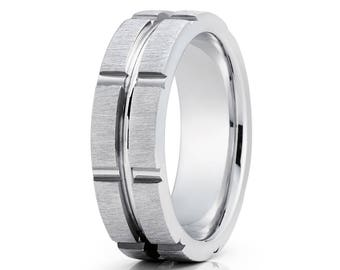 Men's Gold Wedding Band White Gold Wedding Ring Anniversary Ring 14k White Gold Wedding Ring Comfort Fit Men & Women Brush