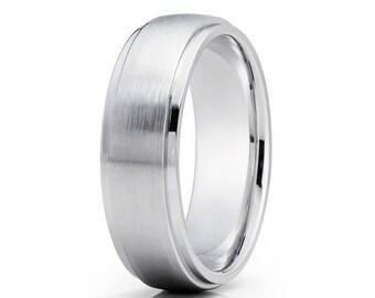 Dome Gold Wedding Band 14k White Gold Wedding Ring Anniversary Ring Men & Women Matte Finish Gold Wedding Band