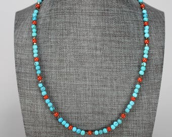 Small Turquoise, coral and antique silver bead necklace