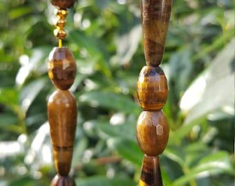 Stunning Handmade TIGER'S EYE Bead Long NECKLACE