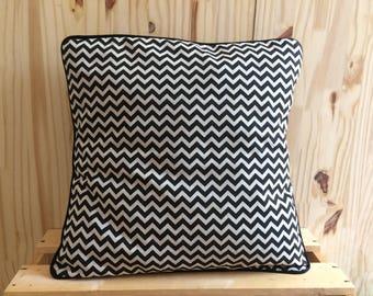 Beige linen and black zig zag pillow cover