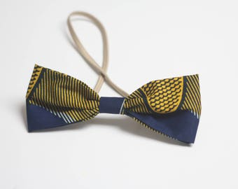 african bow, bow elastic hair, african fabric, hair accessory