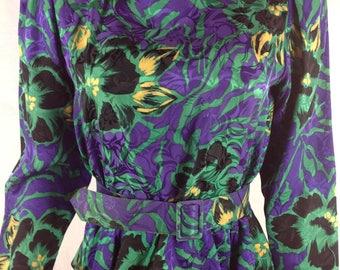 Vintage Silkline Silk Floral Peplum Blouse