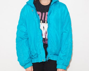 90s Windbreaker, Windbreaker, Quilted, 90s Clothing, Windbreaker Jacket, Aqua Green, Nylon Jacket, Wind Jacket, Sports Jacket, Ski Jacket