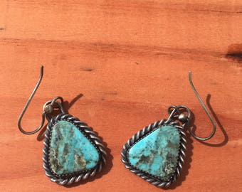 Pyrite & Turquoise Sterling Silver Earrings