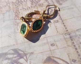 Vintage Gold Plated Emerald Earrings