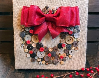 Natural Button Wreath with large bow