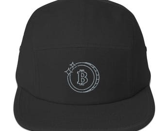Black Bitcoin hat - Lifestyle Cryptocurrency Five Panel Cap
