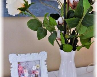 Frame arabesque decorative paper flowers letter V