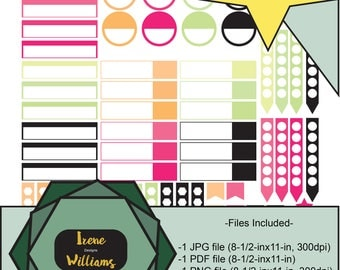 Arrows Mosaic, Pink Blue Black, Big Classic Happy Horizontal Vertical Printable Planner Stickers for your Weekly Spreads, Personal Use only!