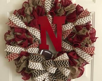 Husker's Football Wreath