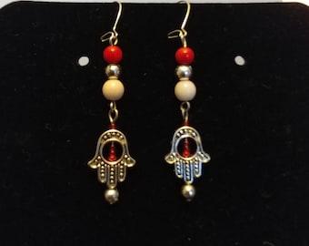 Silver and Red Hamsa Dangle Earrings