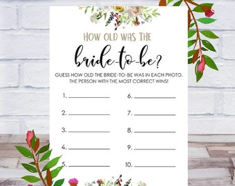 How Old Was The Bride To Be, Bridal Shower Game, Printable, Bachelorette Party, Cards, Size 5x7, Floral, Instant DIGITAL DOWNLOAD