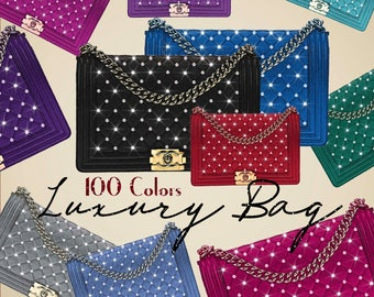 100 Luxury Bag with Pearl Clip Arts,High Resolution 300 Dpi,Fashion Clip Arts,Commercial Use,Bag Clipart,Pearl,Luxury,Instant Download