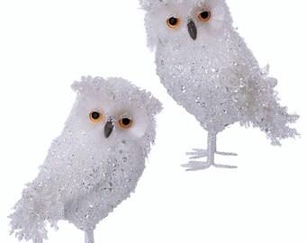 """Raz Imports 11.5"""" Glittered Sequined Iced Owl (Set of 2) RAZ3553354"""