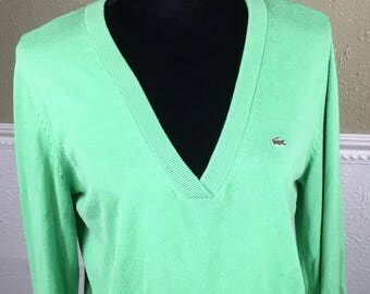 Vintage LaCoste Izod V-Neck Sweater ~ Designed in France Made in Peru ~ Green Preppy Sweater ~ Size 44