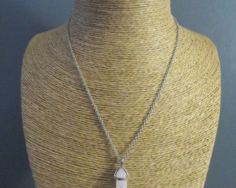 White natural stone silver pendant necklace