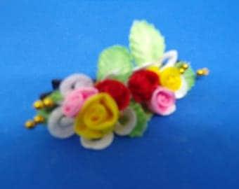 Multicolor flower hair clip