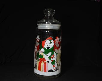 Vintage, cookie jar, for the winter season, made in France, 10.5 inches tall, clear glass, polar bear, Christmas, snowflakes, red, green