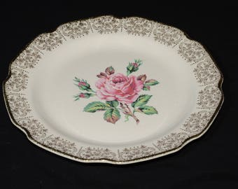 Mid-century (c.1950s), DOMINION CHINA, BRIARD rose, dinner plate, vintage, U.S.A., Pink roses, 22k gold floral chintz
