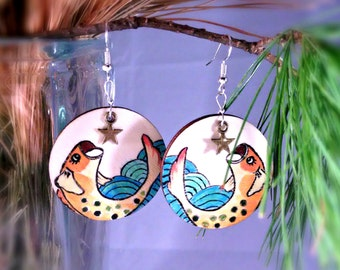 """hand painted earrings  , Handmade  earrings """"Fish and  star"""",gift for her,Birthday gift,Valentine's Day,special present for yourself."""
