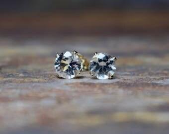 6mm White Topaz & 14k Gold Filled Claw Stud Earrings, Gemstone Earrings UK, November Birthstone, Gift for Wife, Sister