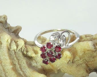 Ruby Cluster Sterling Silver Ring Rhodium Plated/Silver Leaves/Free Shipping US/July Birthstone/Christmas/Valentines/Birthday/Mother gift