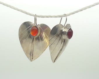 Sterling Silver Leaf Earrings/Cabochon Gem Drop Earrings/Vintage/ Handmade/ Carnelian/Black Onyx/Garnet/Free Shipping US/Christmas/Valentine
