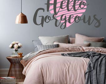 Hello Gorgeous Wall Decal, Gifts For Her, Teen Wall Art, Teen Girls Bedroom Part 93