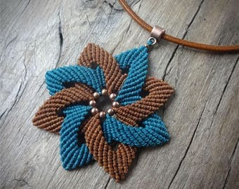macrame pendant on leather cord, old copper tone metal beads