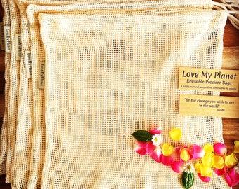 Cotton Mesh Reusable Produce Bag 5 pack