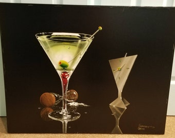 "Michael Godard ""Martini Time"" Artist Proof Giclee on Canvas with COA #26/50 from ""Don't Drink & Draw"" Series"