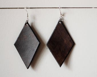 Denise Dark Brown Earrings | Leather Earrings | Birthday Gift | Anniversary | Gifts under 25 | Handmade | Gifts for Her