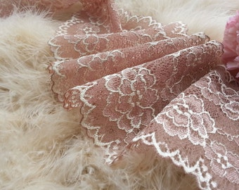 1yd (0.91m) of Raschel Stretch Lace- Light Peachy Brown floral pattern - 12.5cm(4.9inch) Wide,RL_SL003