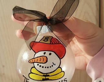 Personalized Firefighter hand painted ornament