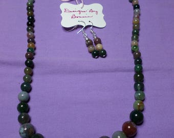 "Beaded Necklace Indian Agate 18""  with matching earrings"