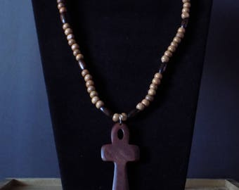 Dark and Light brown wood beaded with ankh necklace