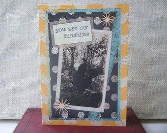 Blank Greeting Card 5x7 You Are My Sunshine, Black and White, Vintage Photo, Baby, Father's Day, Birthday, Love, Family
