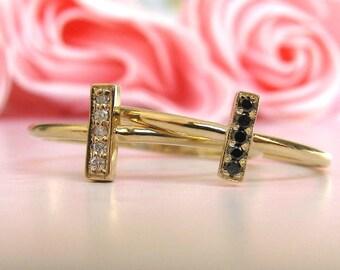 Bar Ring Diamond Black Pave, Wedding Ring, Engagement Ring, Black Diamond, Pave Diamond, Promise Ring, Stackable Ring