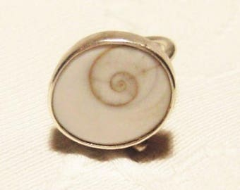 Silver ring with natural worm stone