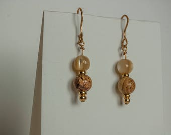 Jasper and Mother of pearl on 14K GF wire earrings