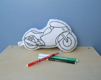 first coloring pillow learning cushion coloring motorcycle