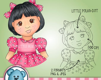 INSTANT DOWNLOAD - Digital Digi Stamp - Little Polka-dot