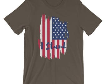 I Stand - American Pride Patriotic National Anthem American Flag Football Boycott Short-Sleeve Unisex T-Shirt